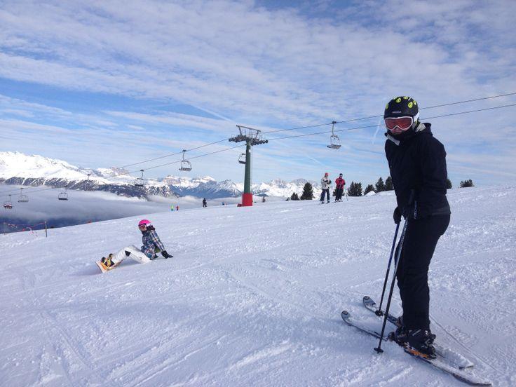 Sciare tra le #Dolomiti #trentinoskisunrise #valdifiemme Amore per lo #sci