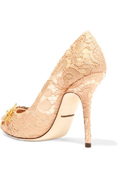 Dolce & Gabbana - Embellished Corded Lace Pumps - Blush - IT