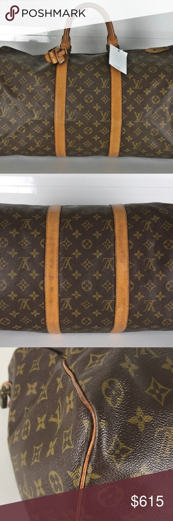 Louis Vuitton Keepall 50 Monogram Travel Bag 10755 (Outside Flaws) Minor rubs wrinkles and some stains on the leather parts.  (Handle) Minor rubs on the whole parts. Minor spots on a part of handle.  (Bottom) Minor scratches and stains on the leather of the bottom parts.   (Inside Flaws) Minor rubs and wrinkles on the leather parts. Zipper works properly  (Metal parts Flaws) Minor scratches on the almost of all metal parts.  Height: 11.4 Width: 19.6 Depth: 8.66 Handle: 12.99  Code etc: SD…
