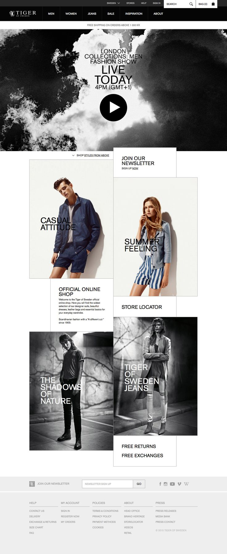 Tiger of Sweden Desktop Home Page Brand language is strongly communicated in the web design of this eCommerce home page. The big sale banner really pops, but the male/female/look book/category links to drill down are kept clear.  - http://www.cartrepublic.com/gallery/2015/07/tiger-of-sweden-desktop-home-page/