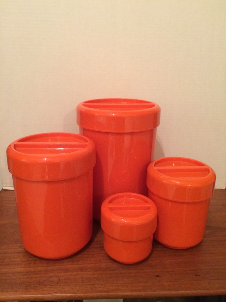 Cannister Set designed by Andre Morin Quebec, Canada 4 Pc Set with lids Orange