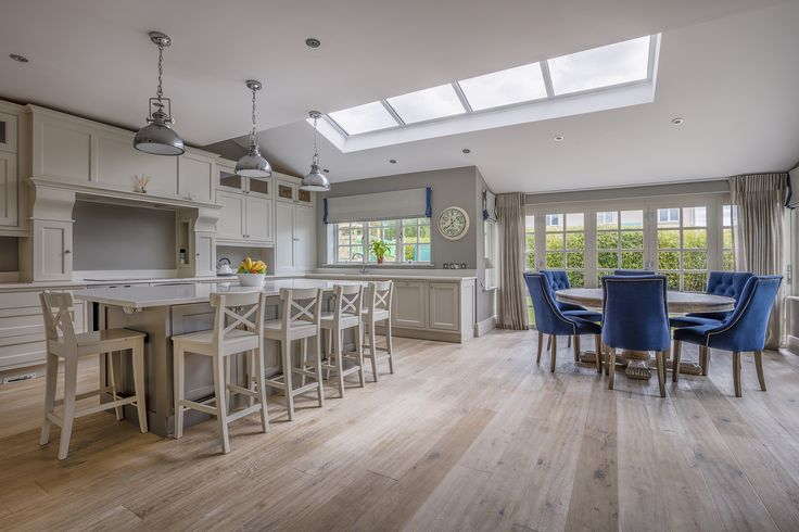 The engineered wood flooring was supplied by TileStyle for this gorgeous private residence. The client ran the wood floor throughout the whole ground floor of their home which suited the open-plan design. Kitchen Ideas, Wood Flooring, interior design.