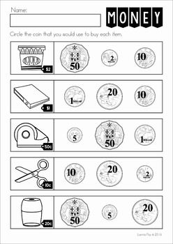 Australian Money No Prep Worksheets. Circle the coin that you would use to buy each item.