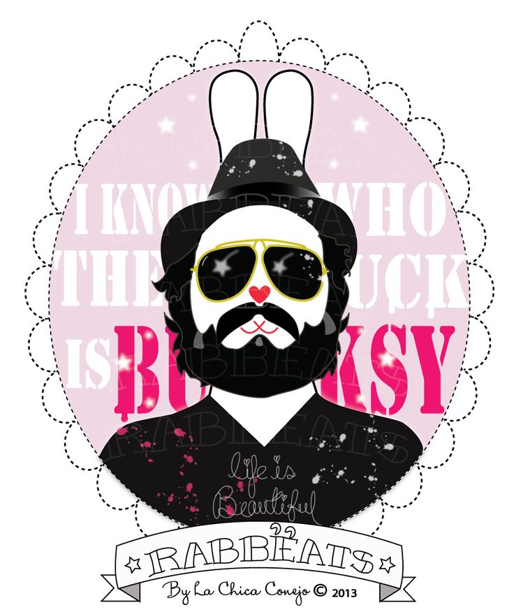 Thierry Rabbëat* Rabbëats by La Chica Conejo ® 2014 All Rights Reserved #ThierryGuetta #MrBrainwash #streetart #spraypaint #lifeisbeautiful Mr. Brainwash #camafeos #cameos #rings #tshirts #personajes #anillos #totebags #rabbeatsbylachicaconejo