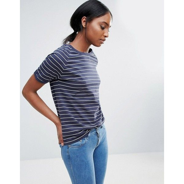 Bethnals Connie Raglan Stripe T-Shirt (41 CAD) ❤ liked on Polyvore featuring tops, t-shirts, navy, jersey t shirt, raglan tee, navy t shirt, crewneck tee and navy blue crew neck t shirts