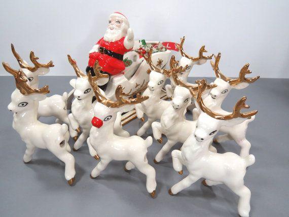 Rare Santa Claus Sleigh 8 Reindeer Plus Rudolph