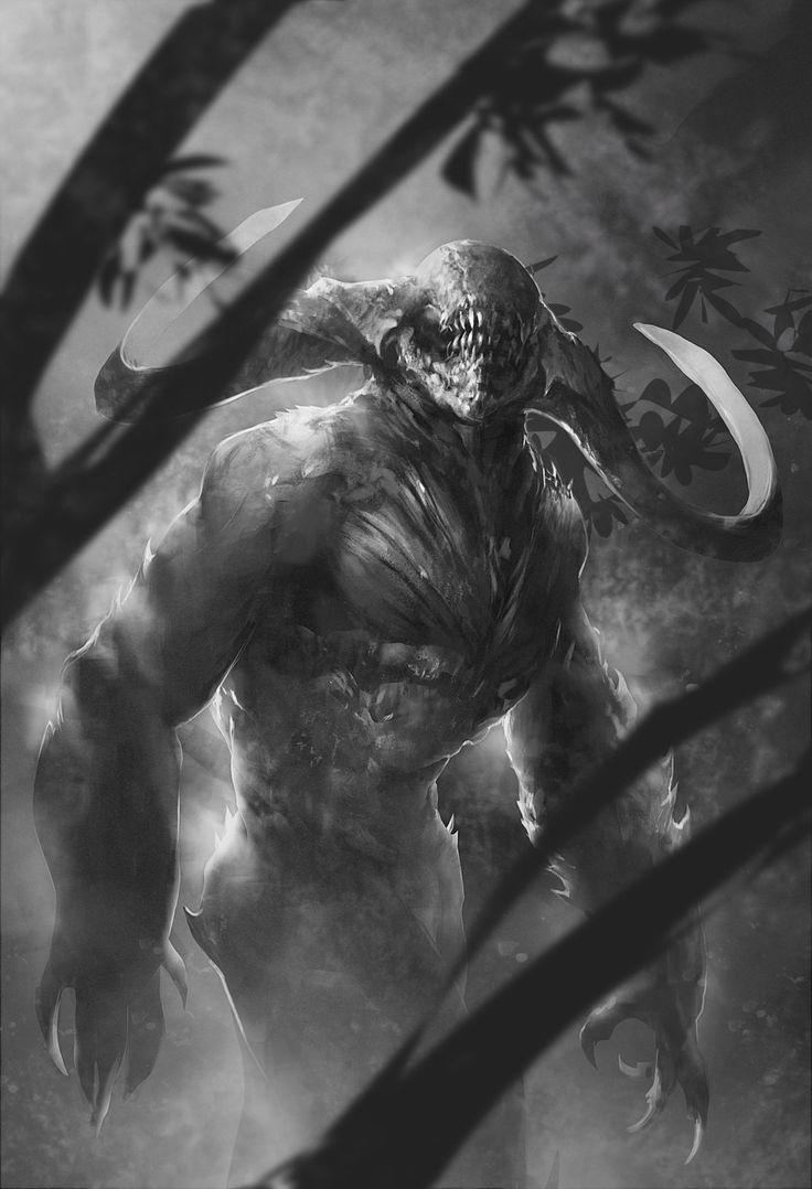 dark forest creature sketch by *Alejandro-Mirabal