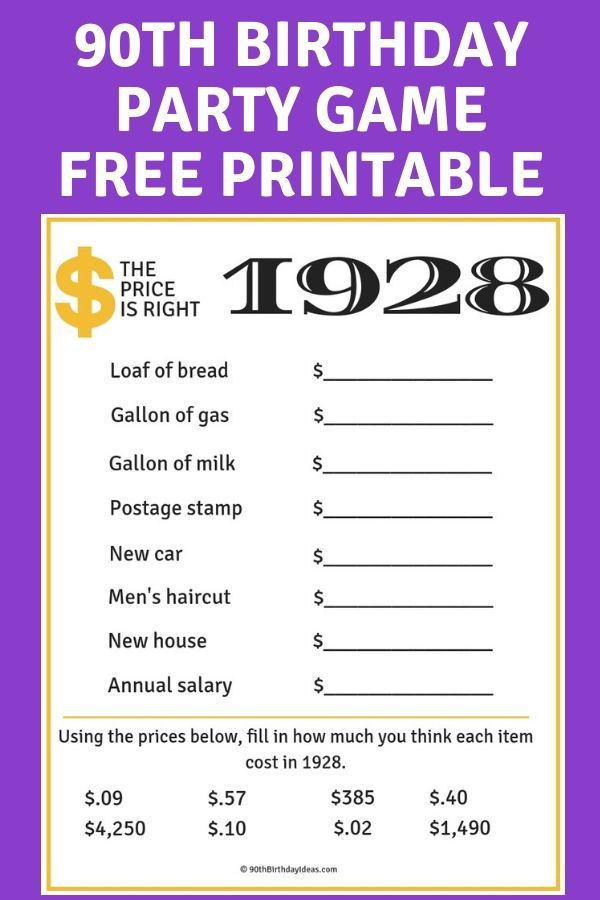 90th Birthday Party Ideas 100 Ideas For A Memorable 90th Birthday Celebration 90th Birthday 90th Birthday Parties Birthday Party Games