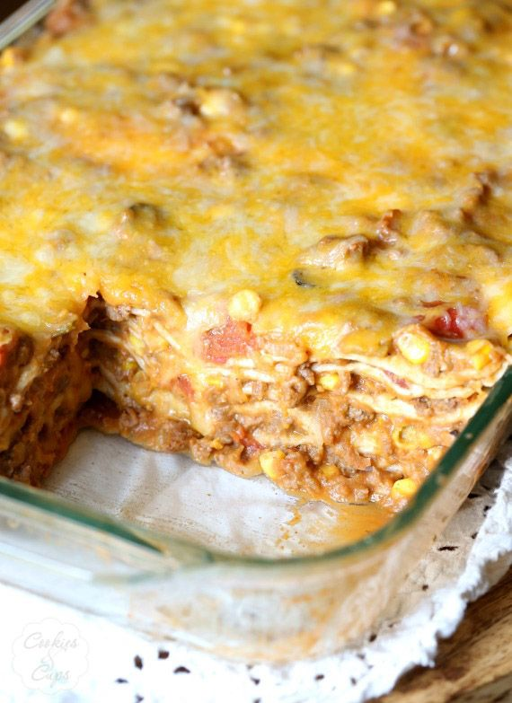 Burrito Lasagana is a great everyday dinner that will feed a crowd! [ MexicanConnexionforTile.com ] #food #Talavera #Mexican