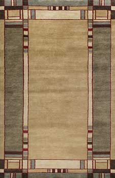 Mission style rug. Beautiful for Arts and Crafts home, too. Really, so pretty. Thick hand-knotted wool for plush beauty. A keepsake for Mission, Arts and Crafts, Bungalows or Craftsman homes. Tan-1004