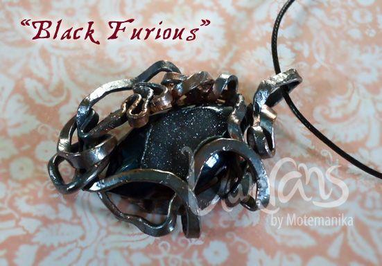 Black Furious druzy stone, copper wire (flattened, oxidized) SOLD