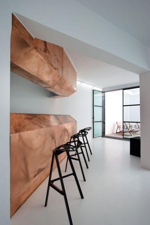 Bronze bar counter & stools