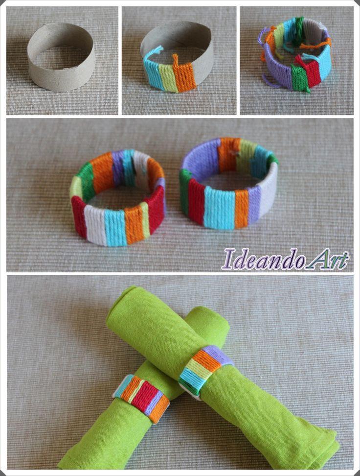 Servilleteros DIY reutilizando rollos de papel y trozos de hilo by IdeandoArt