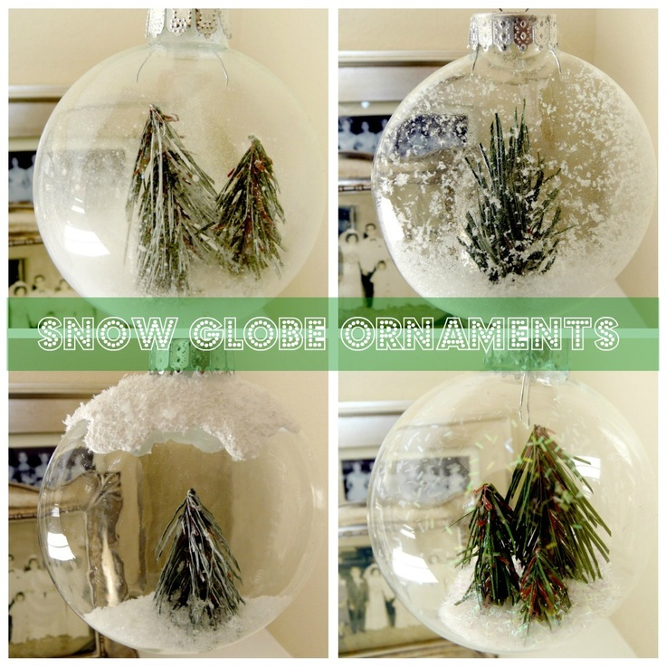 † How to Make Winter Wonderland Snow Globe Ornaments - this is a really cute and clever idea! MUST find some of the glitter spray that makes the snow work! I also really like the puffy paint on top. :)