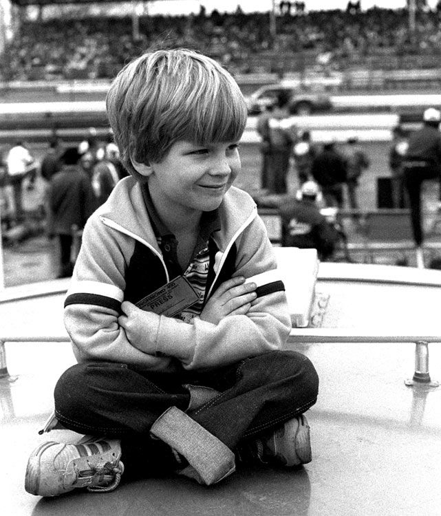 Junior has never been a stranger to the racing circuit, captured here as a six-year-old atop a camper at the 1981 Richmond 400.  Photo: Dozier Mobley/Getty Images