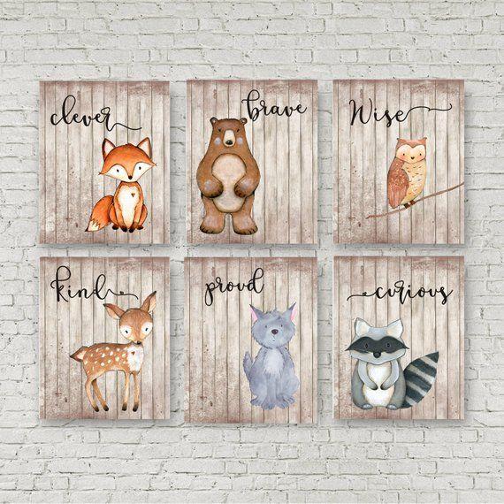 Woodland Nursery, Set of 6, Woodland Theme, Baby shower gift, Boys rustic nursery, Woodland Baby shower, Personalized, Wall art, Raccoon
