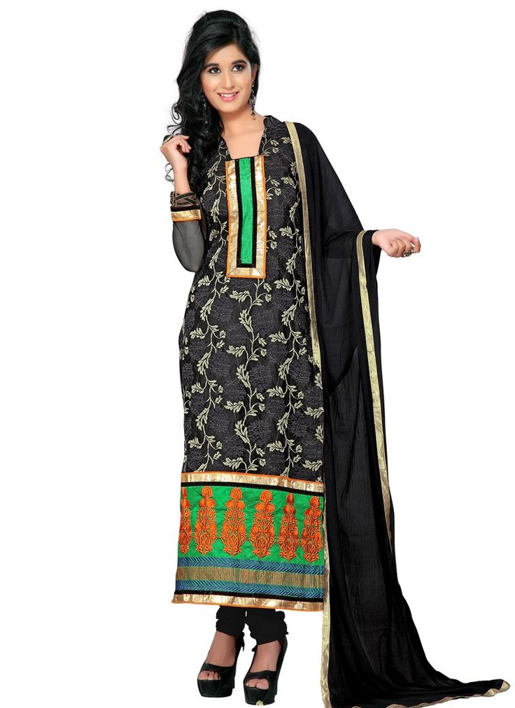 Black Voguish Net Churidar Suit With Lace Work