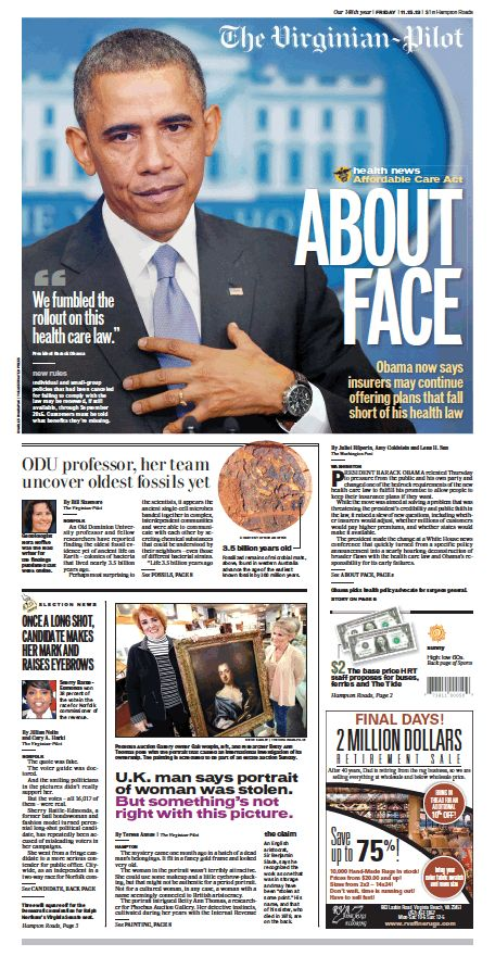 The Virginian-Pilot's front page for Friday, Nov. 15, 2013.