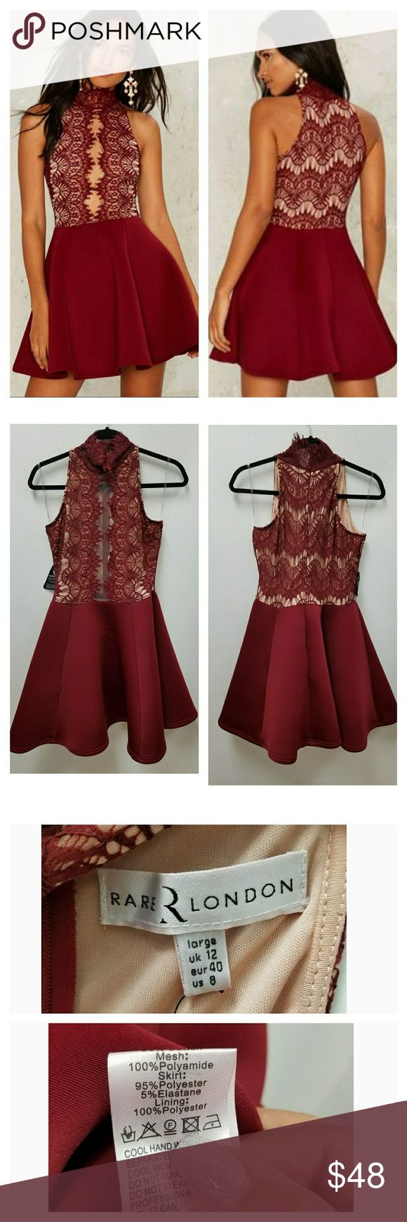 NASTY GAL THE HOLD COURT DRESS The Hold Court DRESS is burgundy and features a scuba skirt, lace bodice, mock neck, enclosed zipper at back, and partial nude lining. By RARE LONDON | Sold out at nasty gal. Item may or may not have tags but is new and never worn boutique item. NASTY GAL  Dresses Mini
