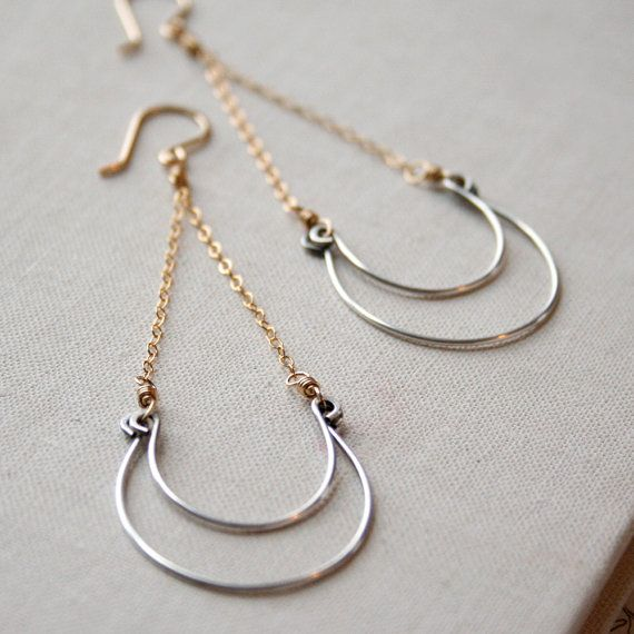 Mixed Wave Earrings  Sterling Silver, Goldfill. #earrings #handmade  #amyolsonjewelry