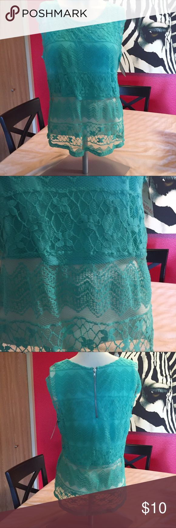 NWT Bongo top Sheer lace mint green top. Bodice is lined, bottom is sheer. Back zip. 19 in pit to pit. 26 in long. Marked XL but that is s junior size. Would for medium in women. BONGO Tops Crop Tops