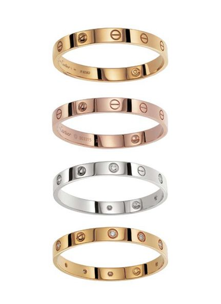 Cartier also offers variations of the original Love bracelet, like its 18kt white gold versions, rose gold versions, diamond studded editions, and special edition pave, ceramic and gemstone Love Bangles. The rare Love cuff can also be found on occasion.