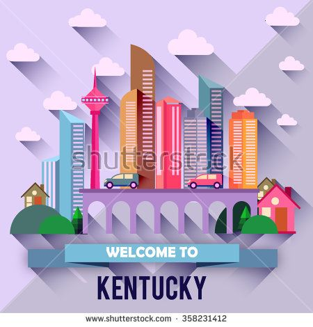Kentucky - Flat design city vector illustration - stock vector