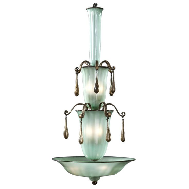 View This Item And Discover Similar Chandeliers Pendants For At Fratelli Toso Rare Murano Frothy Green Gold Speckled Glass Chandelier A