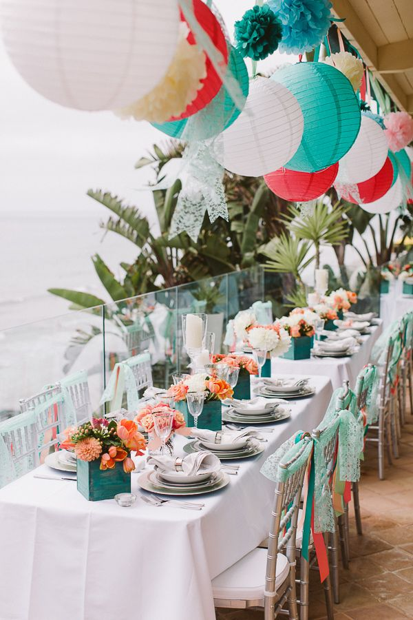 teal, aqua, and coral reception, photo by Steve Cowell Photo http://ruffledblog.com/encinitas-beach-wedding #weddingreception