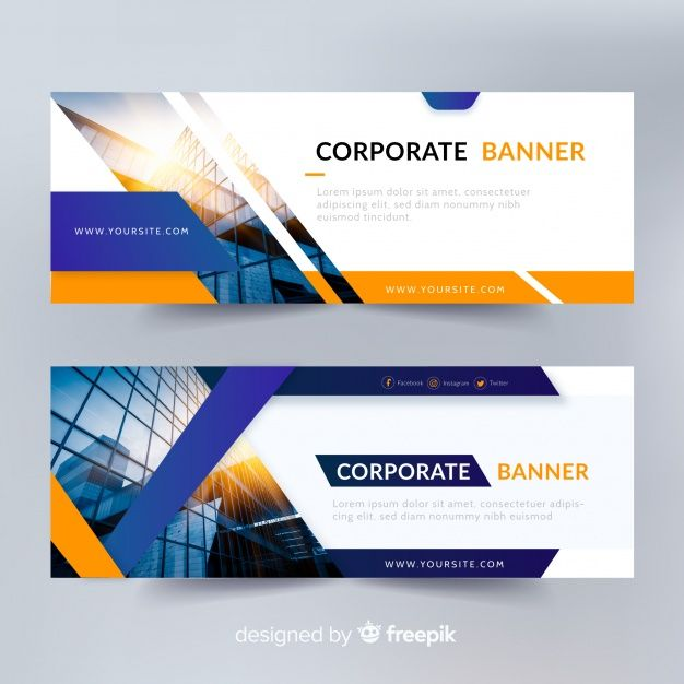 Abstract Banner Templates With Photo Free Vector Abstract