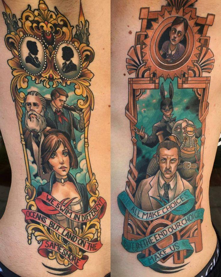 Bioshock rib tattoos by @challenjer at @blackmetaltattooco in Strongsville OH. #bioshock #challenjer #blackmetaltattoo #strongsville #ohio #tattoo #tattoos #tattoosnob
