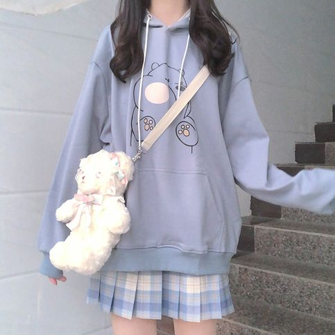 Japanese ins college wind cute bear hoodie sold by Asian Cute {Kawaii Clothing}. Shop more products from Asian Cute {Kawaii Clothing} on Storenvy, the home of independent small businesses all over the world. Hipster Outfits, Cute Casual Outfits, Pretty Outfits, Grunge Outfits, Korean Girl Fashion, Cute Fashion, Fashion Outfits, Pastel Fashion, Ulzzang Fashion