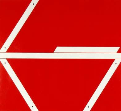 Constructie in rood, 1984  Kunstenaar: Nic Blans  zeefdruk  64 x 72 cm