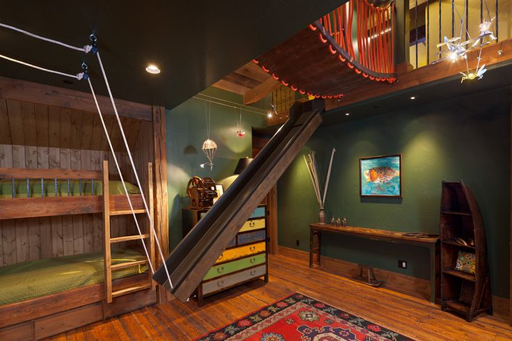 Cool Bunk Room with the bridge above and the slide....Four Peaks Residence, Yellowstone Club - Big Sky, MT