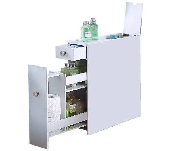 White Slimline Bathroom Cabinet In 2019 Bathroom Cabinets