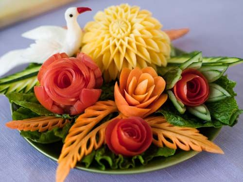 carved vegetables  so pretty to look at.....for food