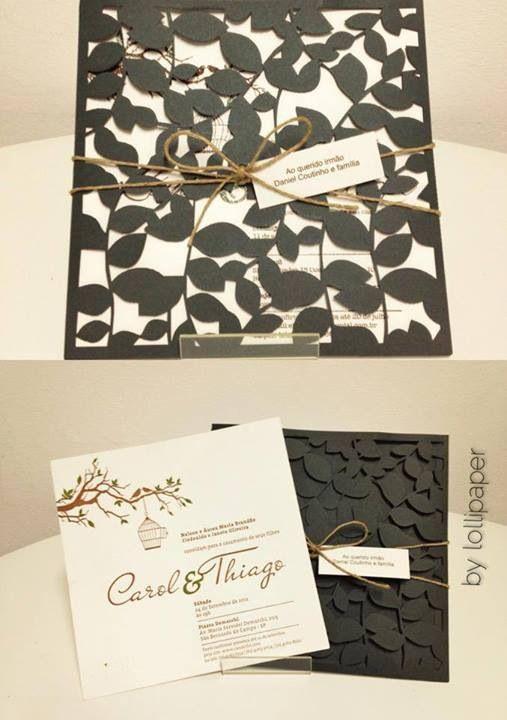 Gostei bastante da capa do convite de casamento, apesar de bastante detalhado não ficou exagerado.