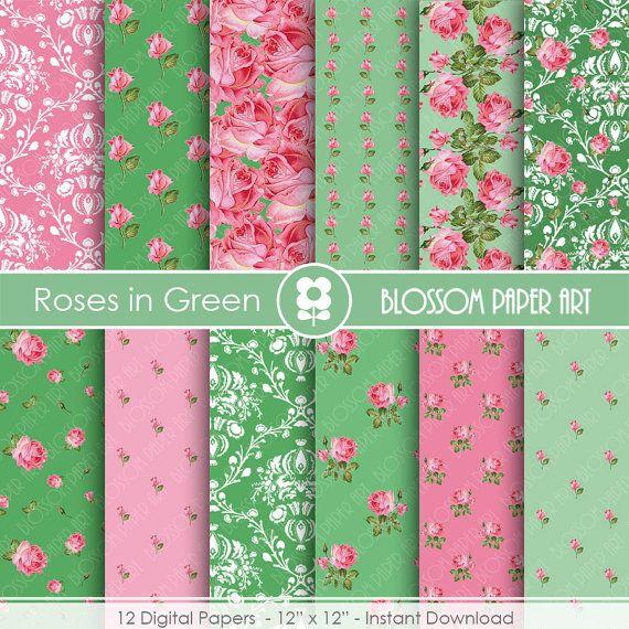 Floral Digital Paper Green Pink Scrapbooking by blossompaperart