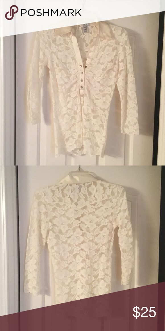 Cache cream lace top Long sleeve lace stretch top with rhinestones buttons Cache Tops Blouses