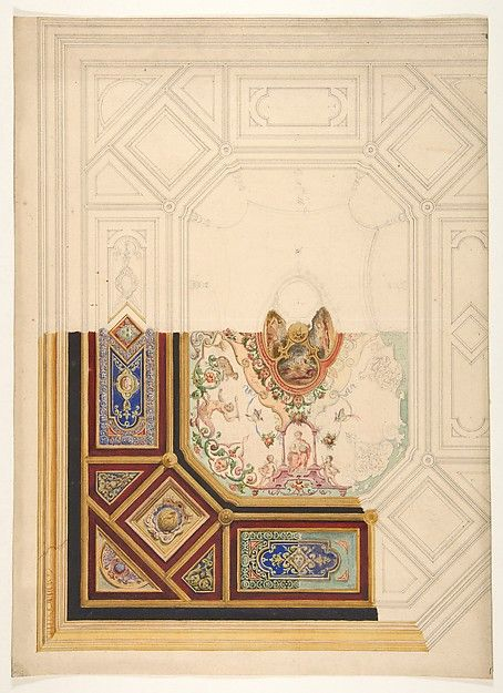 Design for a paneled ceiling to be painted in grotesque motifs Jules-Edmond-Charles Lachaise