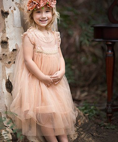 Tan Tulle Dress - Girls #zulily #zulilyfinds