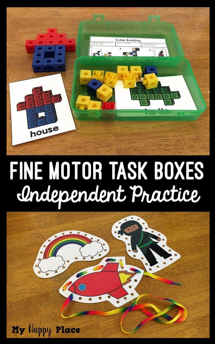 18 Fine Motor Skills Activities! Great for preschool and kindergarten - beads, pattern blocks, snap cubes, and more!