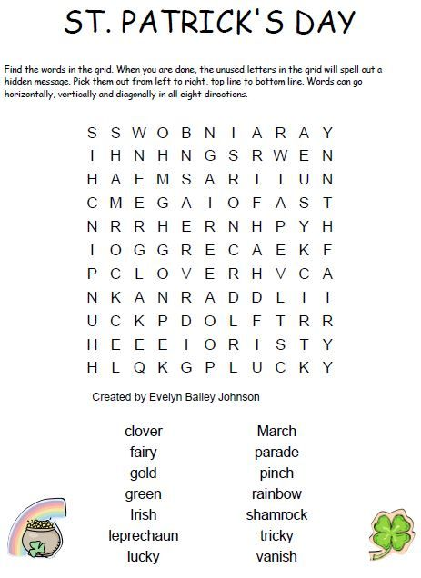 Free Large Print Crossword Puzzles for Seniors  St patrick's day words, Printable word games