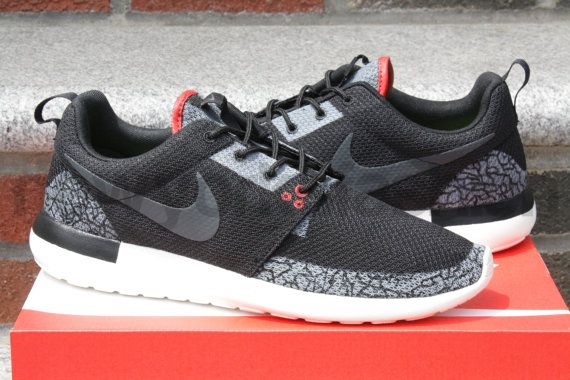 Nike Roshe Run Jordan 3 Black Cement Custom Mens by NYCustoms, $275.00