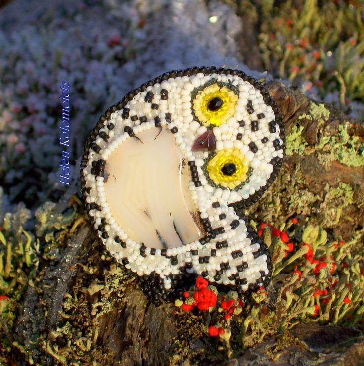 """Helen Kolomoiets. Brooch """"Polar owl"""". Embroidery beaded. Елена Коломоец. Брошь """"Полярная сова''. Вышивка бисером. #ЕленаКоломоец  #вышивкабисером #брошьизбисера #полярнаясова  #handmadejewelry #beadedjewelry  #beadedembroidery #beadedpin #beadedbrooch #brooch #broochowl #embroideryart #handycraft  #youcanbuy #nowilveinsweden #shippingfromsweden #kolomoietshelen"""