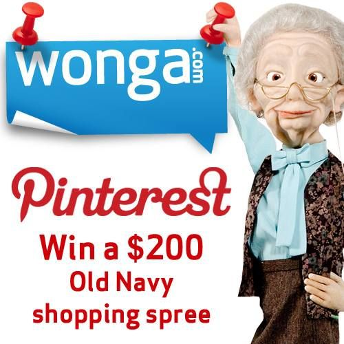 Follow us on Pinterest and repin 5 pins for a chance to win a $200 Old Navy shopping spree!  >>http://pinterest.com/wongacanada/  Contest ends Aug 31. Canada only.  ‪#‎winwithwonga‬