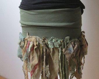 Jersey hippie skirt fairy nymphe S M pagan boho