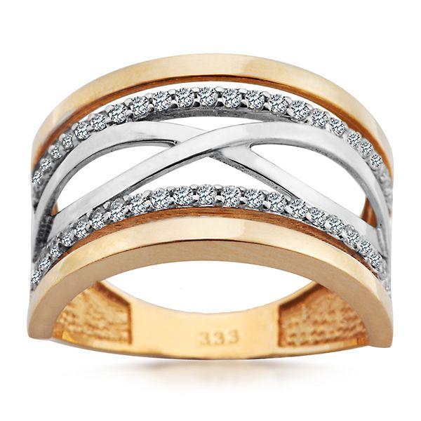 Staviori Pierścionek. Cyrkonia. Żółte, Białe Złoto 0,333. Szerokość 11 mm.   , Victorias - Nowoczesna biżuteria srebrna i magnetyczna oraz zegarki.