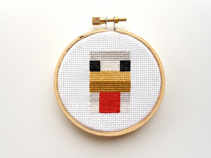 Minecraft Chicken Cross Stitch