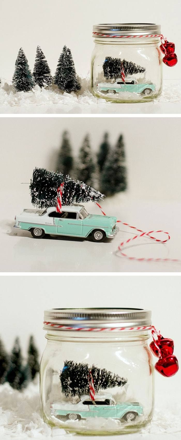 Car in Jar Snow Globe | Click Pic for 22 DIY Christmas Gifts for Kids to Make | Handmade Christmas Gifts for Boys